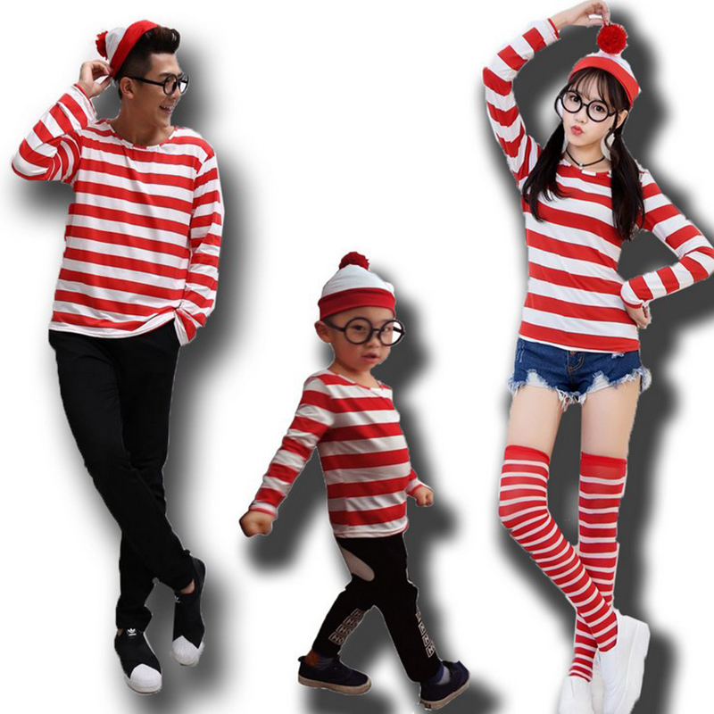 Sensfun Where's Wally Waldo TV Cartoon Stag Night Outfit Adult Mens Fancy Dress Costumes halloween costume for Boys and Girls