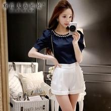 dabuwawa 2016 black white summer new fashionable big sizes buttons leisure women shorts pink doll