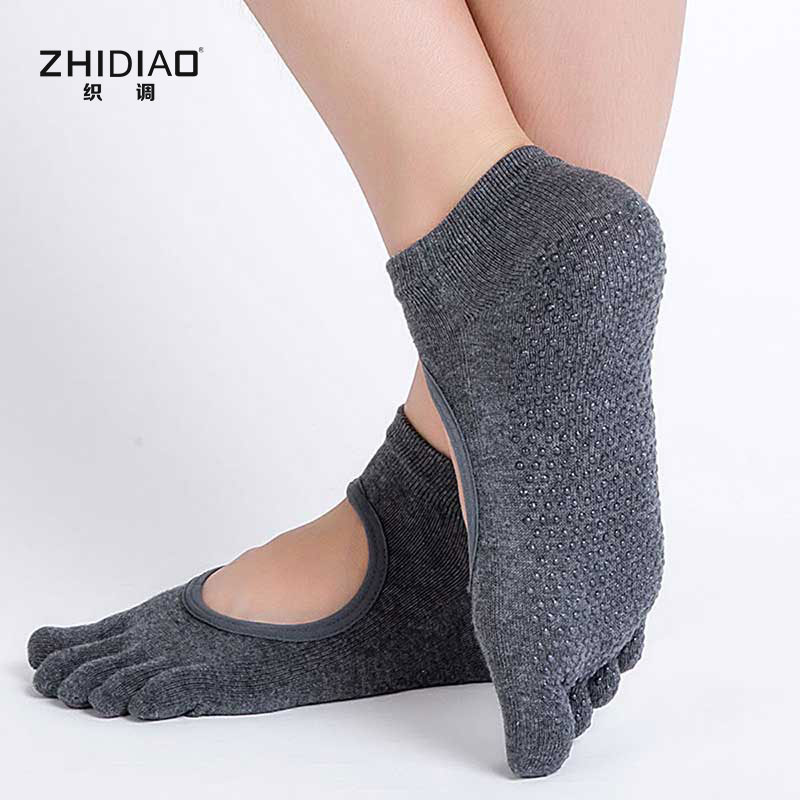 Breathable summer man five fingers toe socks woman backless indoor exercise unisex mens socks cotton ankle anti-slip socks men
