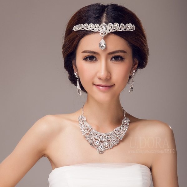 Necklace Earrings With Forehead Jewelry Set Crystal Wedding Jewelry