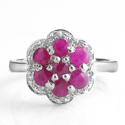 Natural Pink Ruby Ring Flower In 925 Sterling Silver Fancy Sapphire Jewelry Fashion Elegant Luxury Girl Birthstone Gift SR1341R