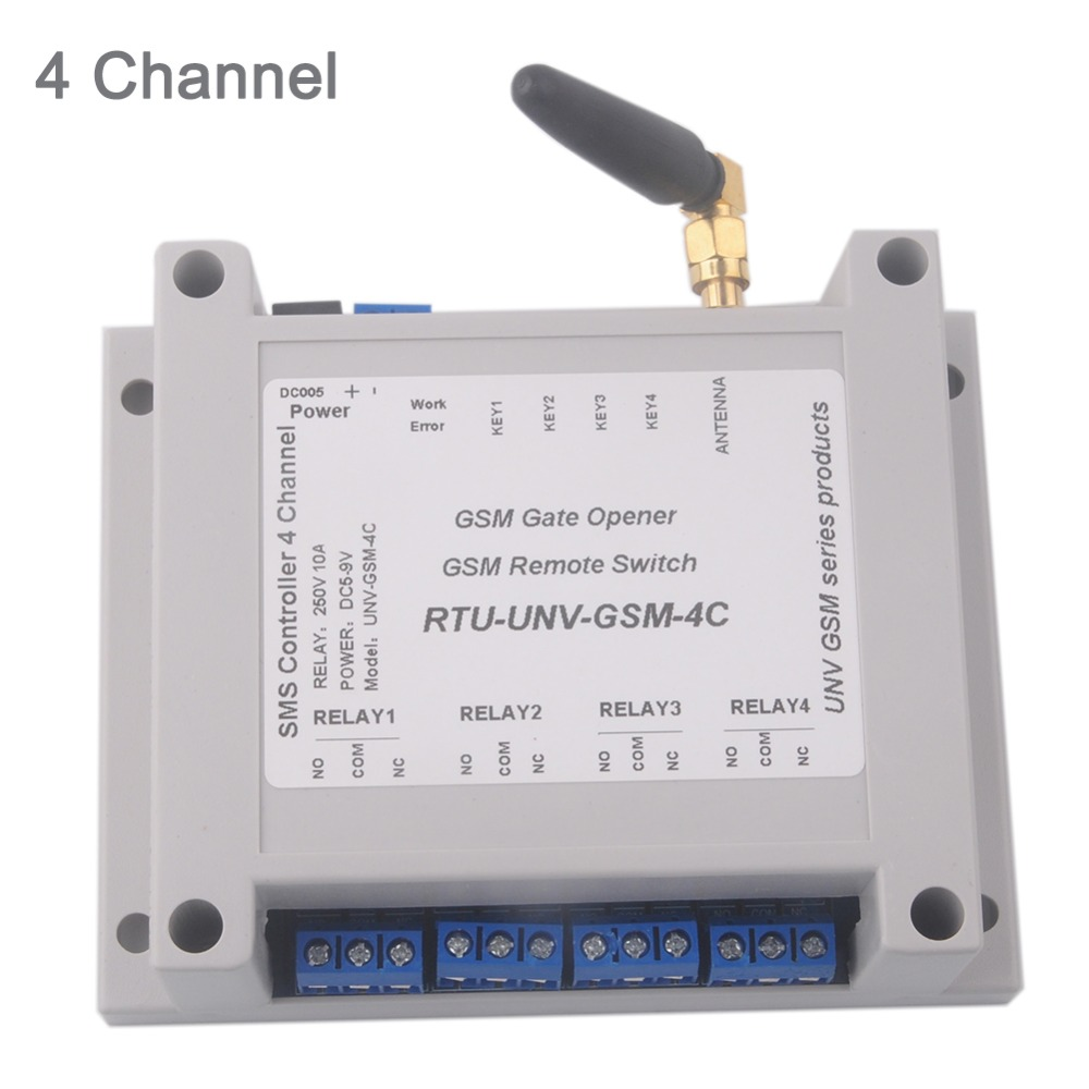4 Channel Relay Module SMS Call Controller GSM Remote Control Switch GSM Gate Opener SIM800C STM32F103CBT6 5-12V 2G