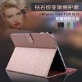 Caso Tablet para Samsung Tab 4 T530 T531 T535 10.1 polegada Suporte Flip de Couro padrão de Diamante Moda Capa Protetora Tablet
