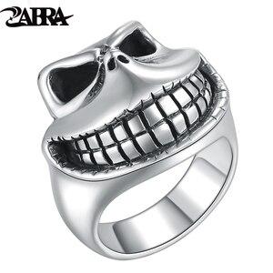 ZABRA naprawdę twarde 925 srebro Gothic czaszka śmiech pierścień dla Punk Biker mężczyźni kobiety Vintage Thai Retro Handmade biżuteria rękodzielnicza