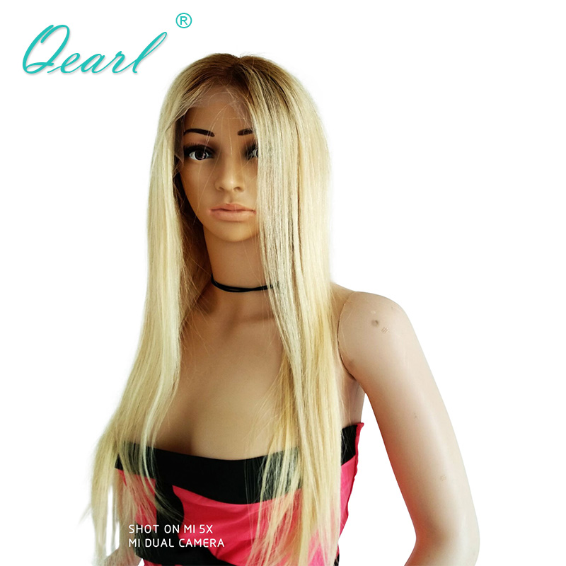 Qearl Blonde Ombre Color Lace Front Wigs Straight Middle Part Human Remy Hair Wig Front Lace Hair Wigs with Baby Hairs 2#/613#