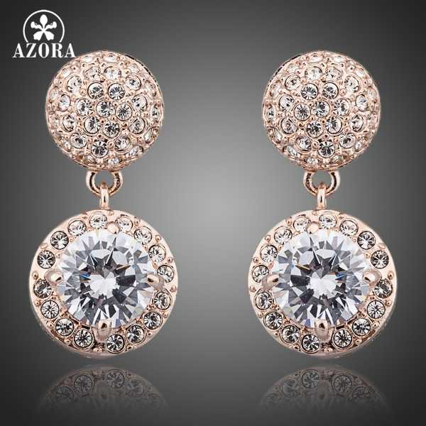 AZORA Rose Gold Color Two Pieces 2ct Cubic Zirconia And Stellux Austrian  Rhinestones Drop Earrings TE0079 085b5d751921