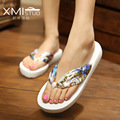 Increased 3.3cm 10Colour fashion flip flops slope with Student colorful slip female minimalist resort beach sandals and slippers