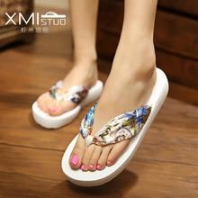 Xmistuo Стиль милые модные вьетнамки на танкетке с студент красочные Нескользящие женские минималистский resort Riband пляжные сандалии и тапочки