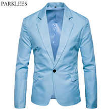 Azul cielo Slim Fit un botón Chaqueta de traje de los hombres de la  primavera de 0bdb166c74e