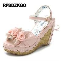 женщина белый цветочный милый высокие каблуки Kawaii Японский цветы сандалии Ботинки сладкой лолиты галстук-бабочка насосы Подглядывать реме...