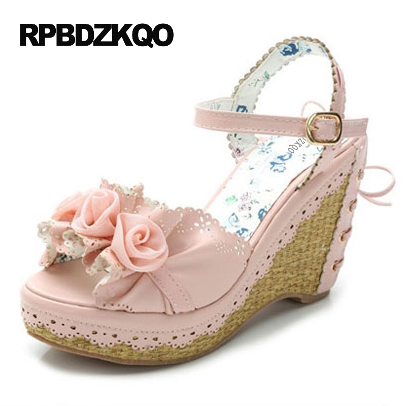 Women Pink Floral Cute High Heels Kawaii Japanese Flower Sandals Sweet  Lolita Shoes Bow Pumps Peep Toe Strap Slingback Lace Up 68ba7344af7e