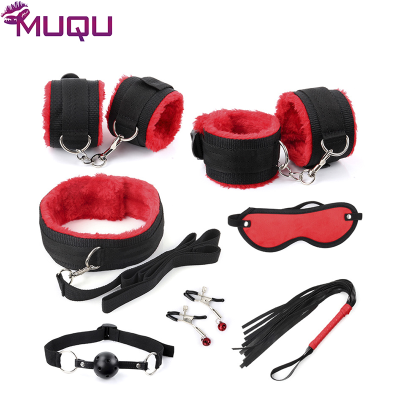 New black with red ribbon plush 7 pieces bondage set restraints adult bdsm games bondage kit sex toys for couples sex products in Adult Games from Beauty Health