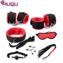 New black with red ribbon plush 7 pieces bondage set restraints adult bdsm games bondage kit sex toys for couples sex products