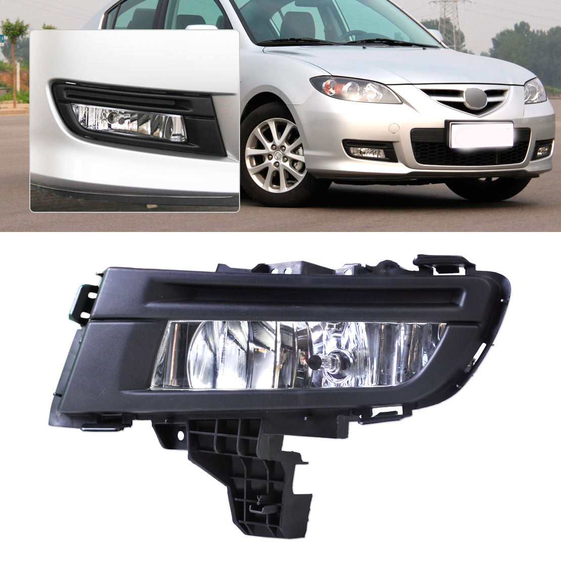 DWCX Front Right Side Fog Light Lamp for Mazda 3 2007 2008 2009 approx. 29cm x 12cm free shipping for vw passat b6 2006 2007 2008 2009 2010 2011 new front left and right side high quality 9 led fog lamp fog light