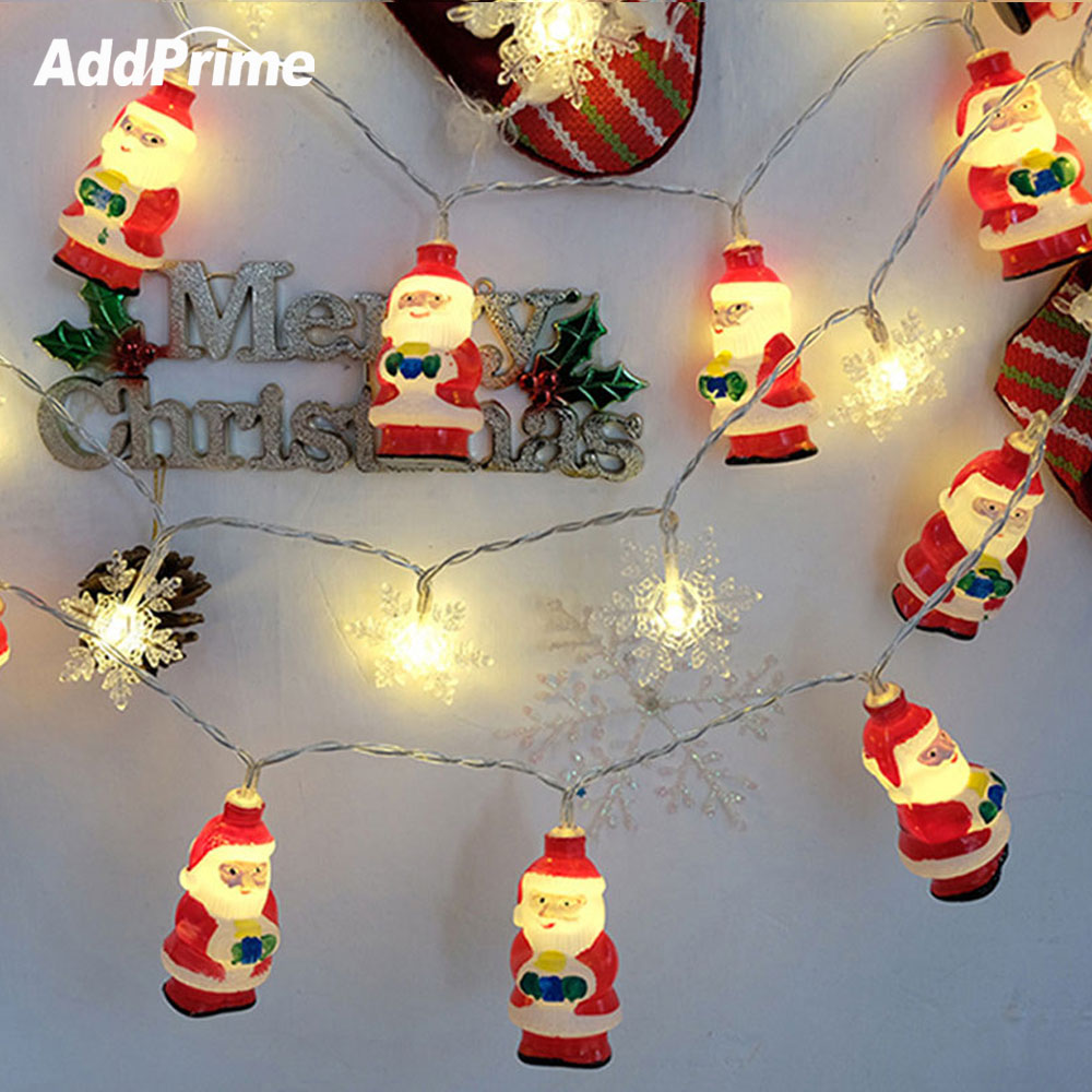 LED Holiday Lights Christmas Party Lights Santa Claus Snowflake 3M 20 LED String Lights Home Indoor Christmas Tree Decorations christmas santa claus snowflake vintage plus size dress
