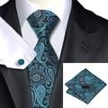 2016 Fashion Darkcyan Black Paisley Tie Hanky Cufflink Silk Necktie Ties For Men Formal Business Wedding Party 8.5cm Width C-468