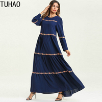 Floral Embroidery Striped Long Sleeve Dress Woman's Muslim Robe Big Swing Multilayer ComforTble Elegant Long Dresses T7586