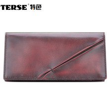 TERSE_Thin handmade genuine leather men long wallet high quality fashion business casual purse in blue/ burgundy/ coffee
