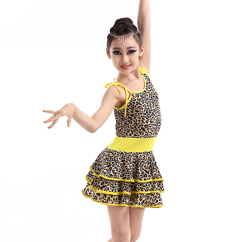 fe6f6112cfc4 Girl Kids Leopard Tango Salsa Costume Children Competition Latin ...