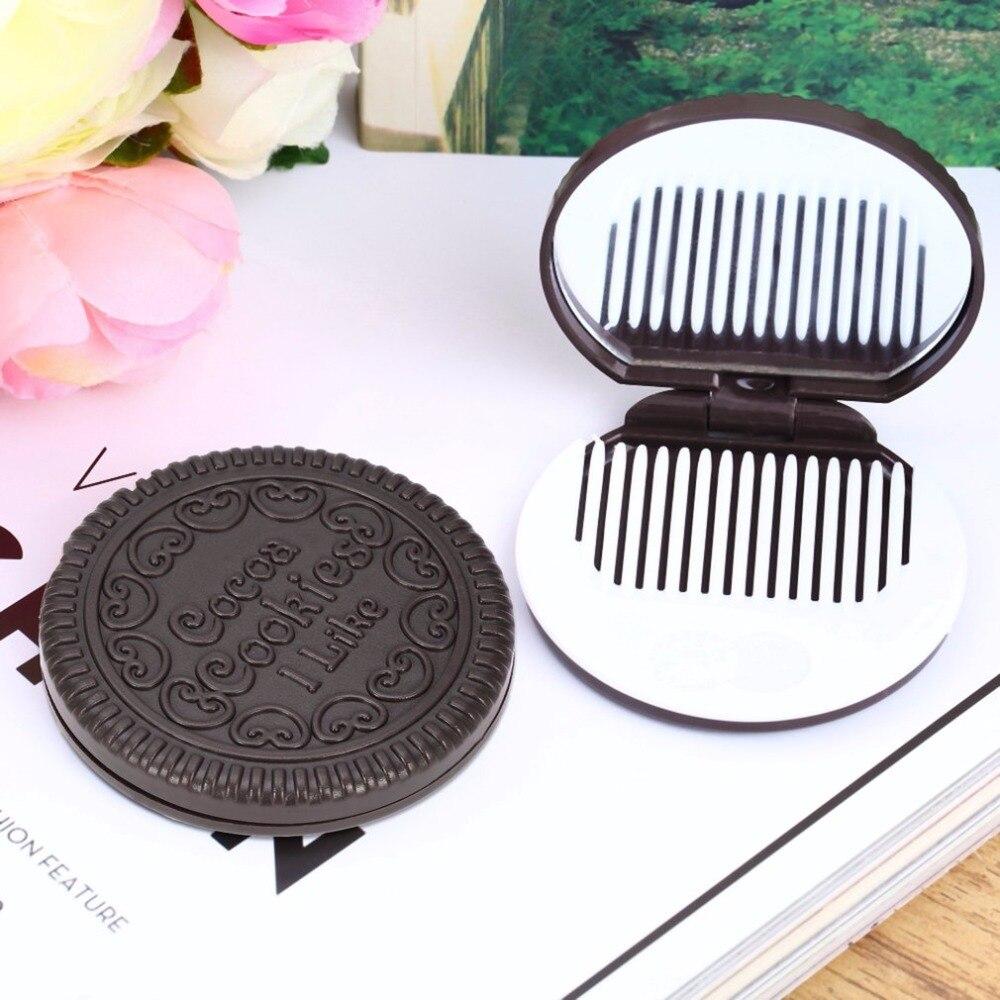 Frauen Mädchen Make-up Kosmetische Klapp Spiegel Schokolade Cookie Mini Tasche Spiegel Mit Kamm Prinzessin Tragbare Sandwich Keks Form Spiegel Schönheit & Gesundheit