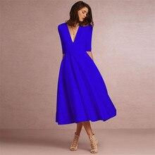 2018 Fashion Summer Dresses Women Casual Plus Size Ball Gown Party Dress Female Vintage Sexy Slim V Neck Long Dress vestidos 3XL