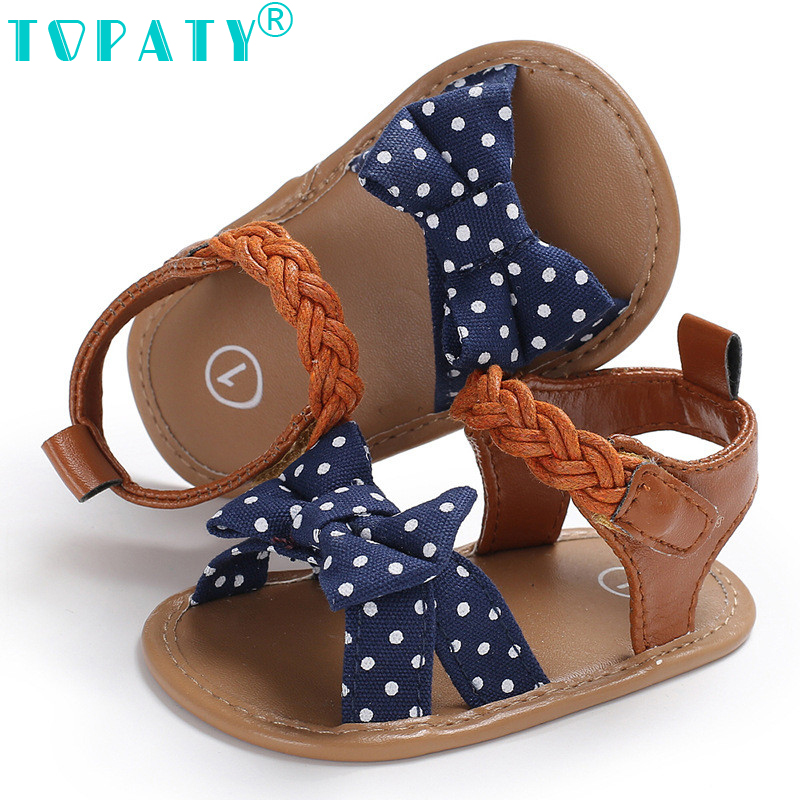 2018 Brand new Summer Baby Girls Shoes Sand Beach Kids Shoes Fashion Dot Canvas Shoes Newborn Infant zapatos Bebe Toddler Shoes
