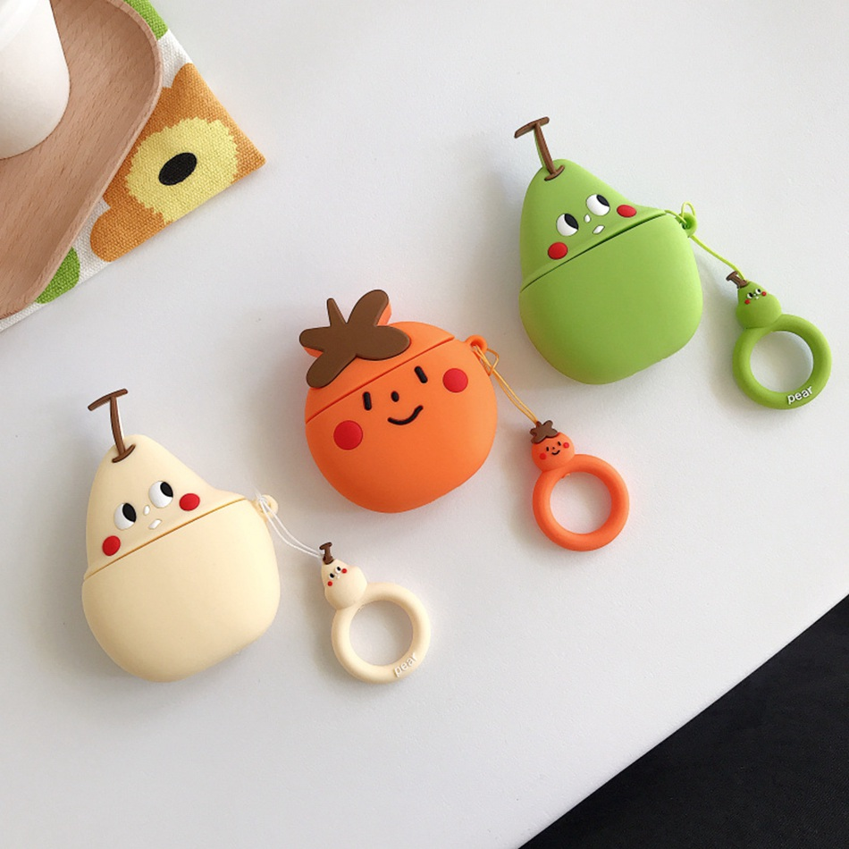 3D Silicone Earphone Case For AirPods 2 Case Cute Cartoon Fruit series Cover For Apple Air pods Headphone Case Finger Ring Strap