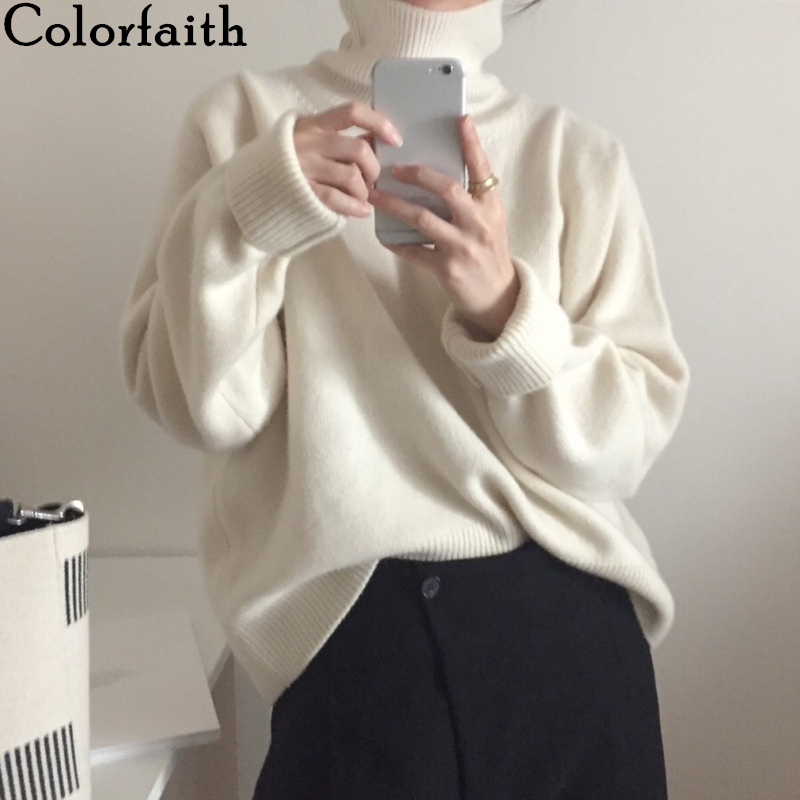 Colorfaith New 2019 Women s Autumn Winter Sweaters Pullover Turtleneck Solid Minimalist Elegant Office Lady Loose