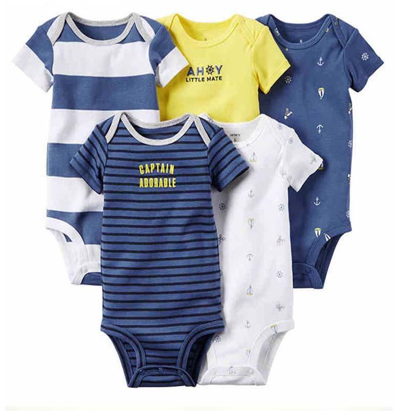newborn 5pcs/lot baby bebes boy girl clothes set infant summer kids romper for boys short sleeve triangle baby