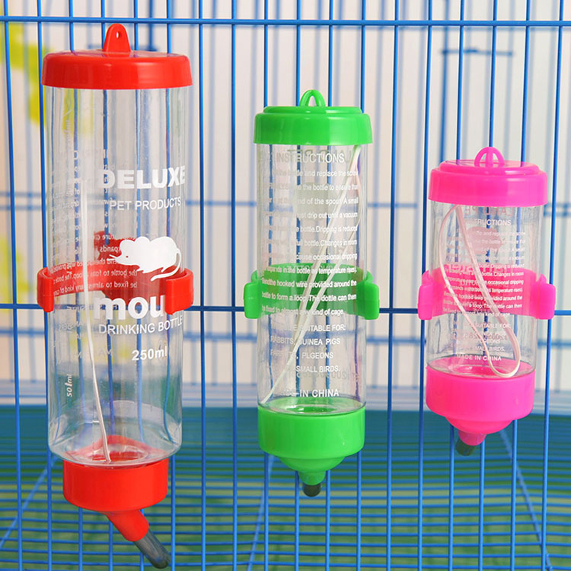 3 Size 80ml 125ml 250ml Cage Hanging Plastic Stainless Steel Guinea Pig Squirrel Rabbit Hamster Water Drinking Dispenser Feeder