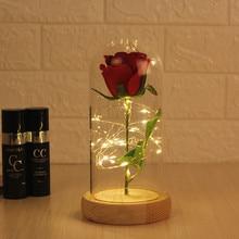 Фильм Красавица и Чудовище красная роза в стеклянном куполе на деревянной основе для Святого Валентина подарки цветы лампа романтический подарок на день рождения