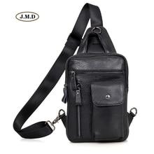 J.M.D Genuine Leather Black Color New Style Fashion Design Chest Pack Crossbody Shoulder Bag Portable for Men 4006A