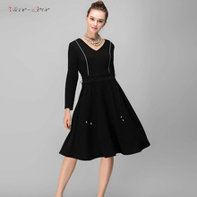 2018 New spring Waist Butterfly Belt Regular Long Sleeve Pure Color Knitted Fabrics Loose Dress Fashion Apparel Trend
