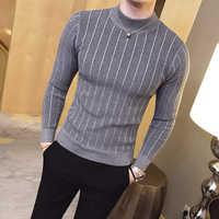 Пуловер, мужской свитер, 2019, повседневный полосатый Одноцветный свитер, мужской, полувысокий воротник, стрейч, плотный свитер, тонкий вязаны...