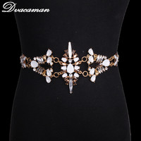 Dvacaman 2017 New Fashion Colorful Luxury Full Glass Crystals Big Statement Shiny Belly Chains Beach Body