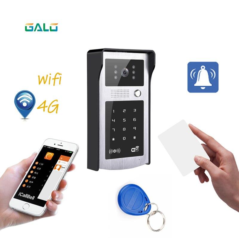 WIFI Vidéo Porte Téléphone avec Android ISO App/RFID et le Code Clavier Sonnette soutien Serrure Électrique automatique ouvreur de porte système