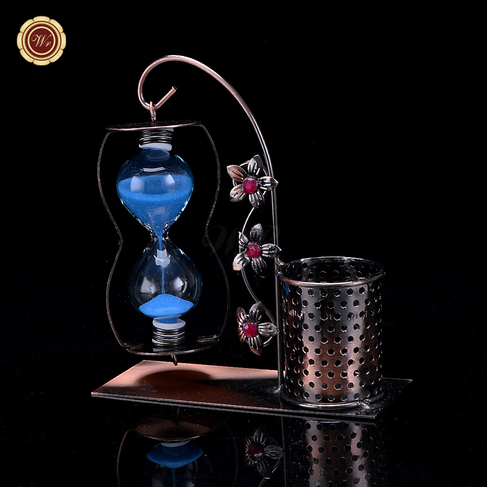 Cheap arts and crafts supplies - Metal Vintage Blue Sand Hourglass Timer With Pen Holder Decoration Cheap Arts And Crafts Supplies