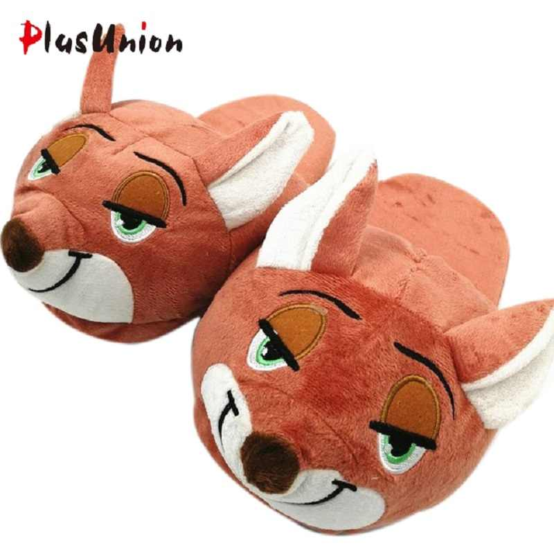 cd94b524e62d winter cartoon animation home indoor cotton flat furry cosplay slippers  women adult fluffy house mules fur