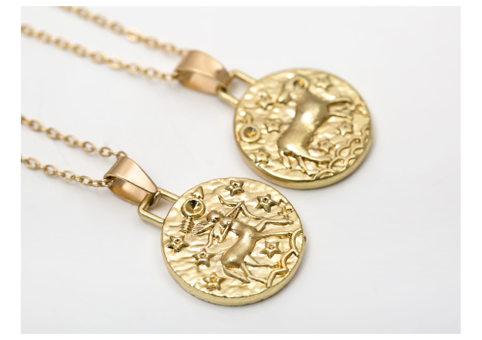 12 Constellation Jewelry Necklace Gold Virgo Libra Scorpio Sagittarius Capricorn Aquarius Zodiac Necklace Circle Pendant bijoux 12