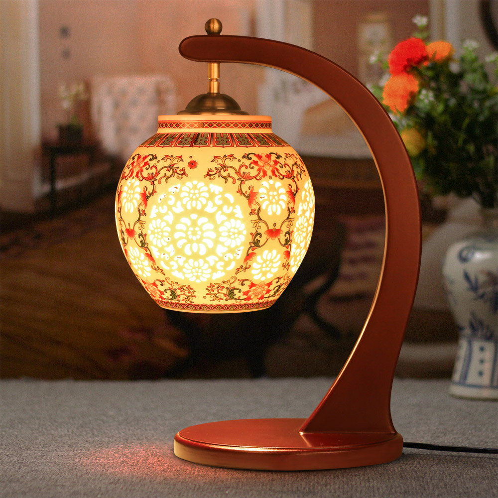 ФОТО Well-Designed Chinese Porcelain Desk Lamp Cozy Home Lighting Fixture Double Butterflies Ceramic Table Lamp Farther's Day Gift