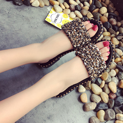 2019 Summer Shoes Woman Flat Sandals Fashion Rivet Crystal  Female Slides Ladies Comfortable Shoes size 35--40 Zapatos Mujer 4