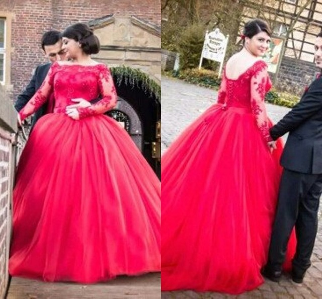 Custom Made Plus Size Wedding Gowns Lace Red Black Ball Gown Long ...