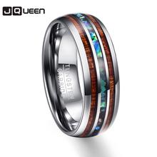 Polerowanie ziarna drewna pierścienie męskie środkowe 100 obrączki z węglika wolframu wielowarstwowe Anillos para hombres Pierscienie tanie tanio JQUEEN Mężczyźni Metal Ślub Brak Moda TRENDY Zespoły weselne Okrągły T025R Pierścionki