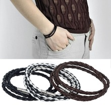 Braided Leather Chain Link Bracelet Men Punk Style Charm Bangle Wristband Wrap ID Bracelet For Men Women P15