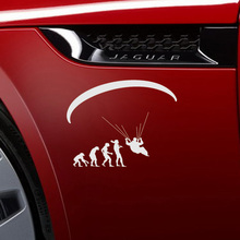 15.9*13.2CM 10 Color Funny Human Evolution Extreme Sport Paragliding Car Stickers Motorcycle Reflective Vinyl Decals