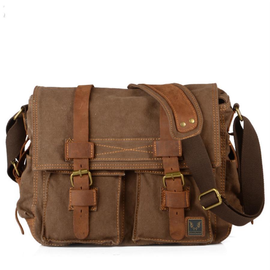 Hommes Vintage sacs à bandoulière grande capacité toile sac à bandoulière pour voyager mâle rétro Messenger sacs avec ceinture en cuir de vachette