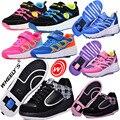 WHEELY'S Muchachas del Muchacho Niño Jazzy WHeely Transpirable Zapatillas de Deporte de Los Zapatos del cabrito Con Ruedas Niños Zapatos Del Patín De Ruedas de EUROS 28-44