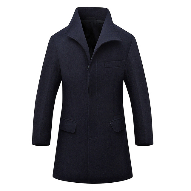 2017 New Brand Men Woolen Coats Casual Turn-down Collar Middle Long Jackets And Coats Thick Mens Warm Wool Overcoat M-3XL 130z