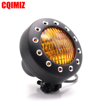 """For Harley Chopper Bobber XS650 H4 12V 4"""" Black Motorcycle Headlight Headlamp Front Light With Amber/Clear Lens"""