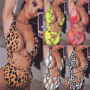54833db315b7d Sexy One Piece Women Swimsuit Bathing Suit Bandage Leopard Beach Swim Wear  Swimwear Swimming Suit For Women Bikini Badpak 2019